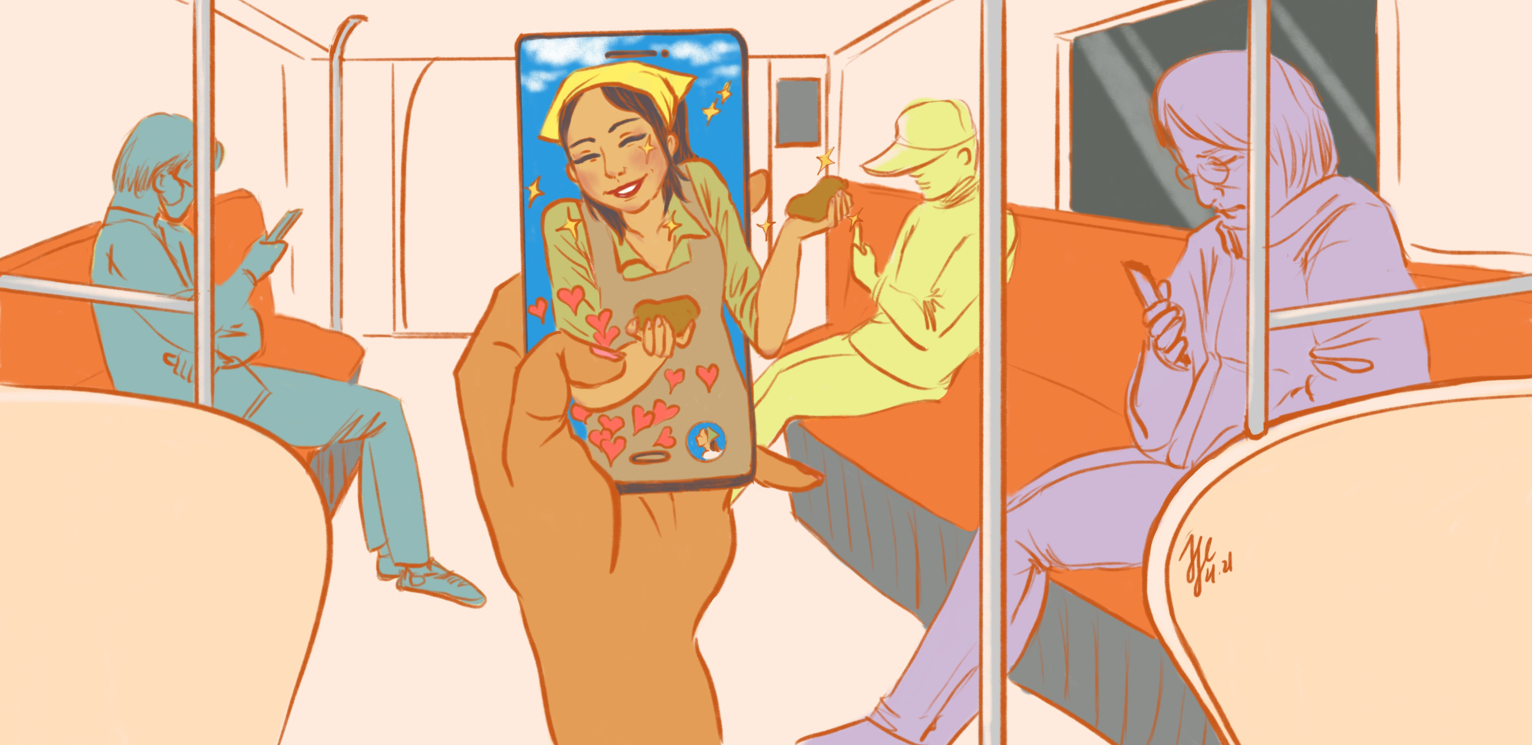 A hand holding up a phone that depicts a potato farmer selling her wares live, and receiving Likes. The disembodied person is on public transportation, where all other people are looking at their phones.