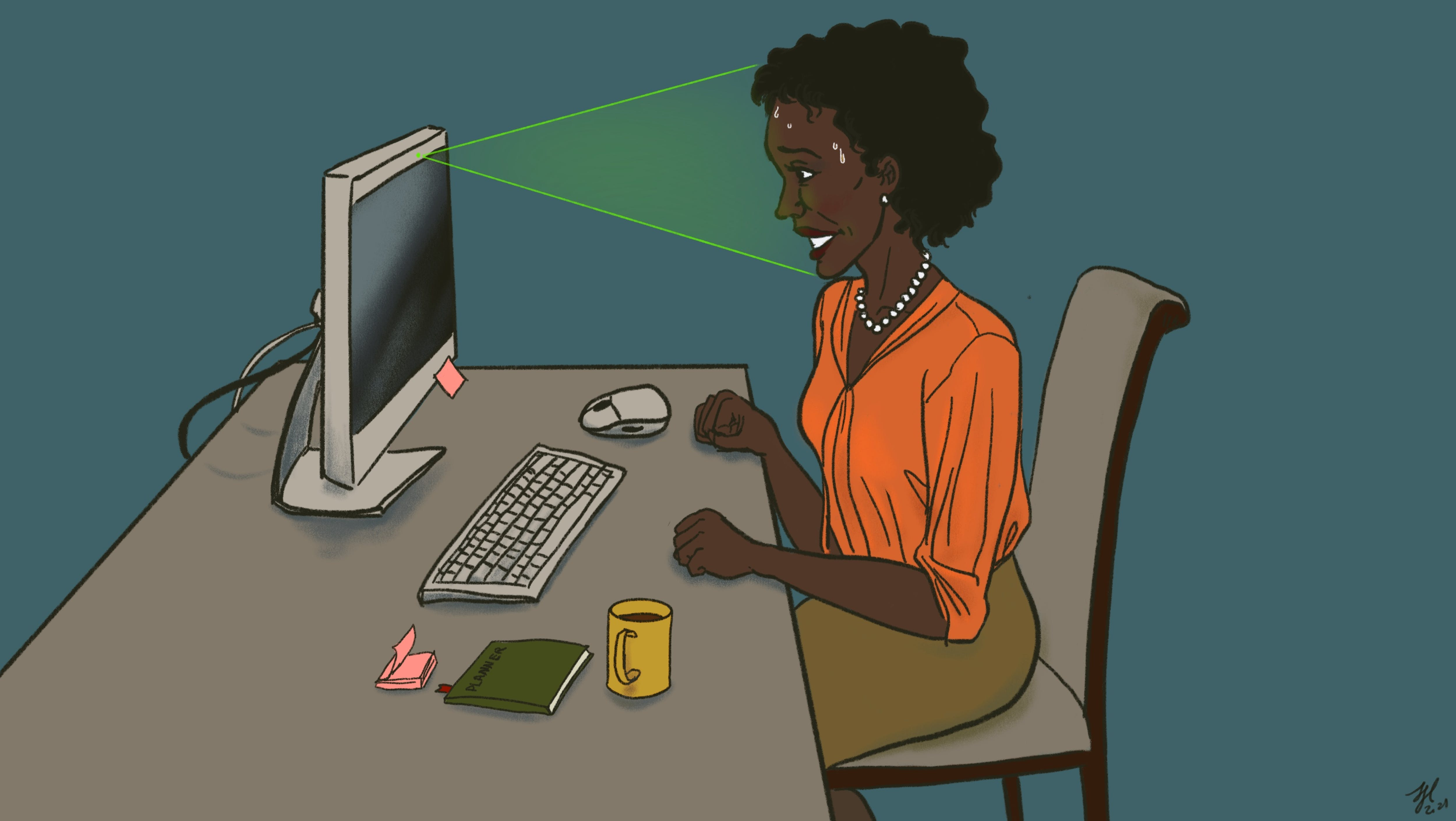A black job seeker anxiously faces a computer screen, which is scanning her face.