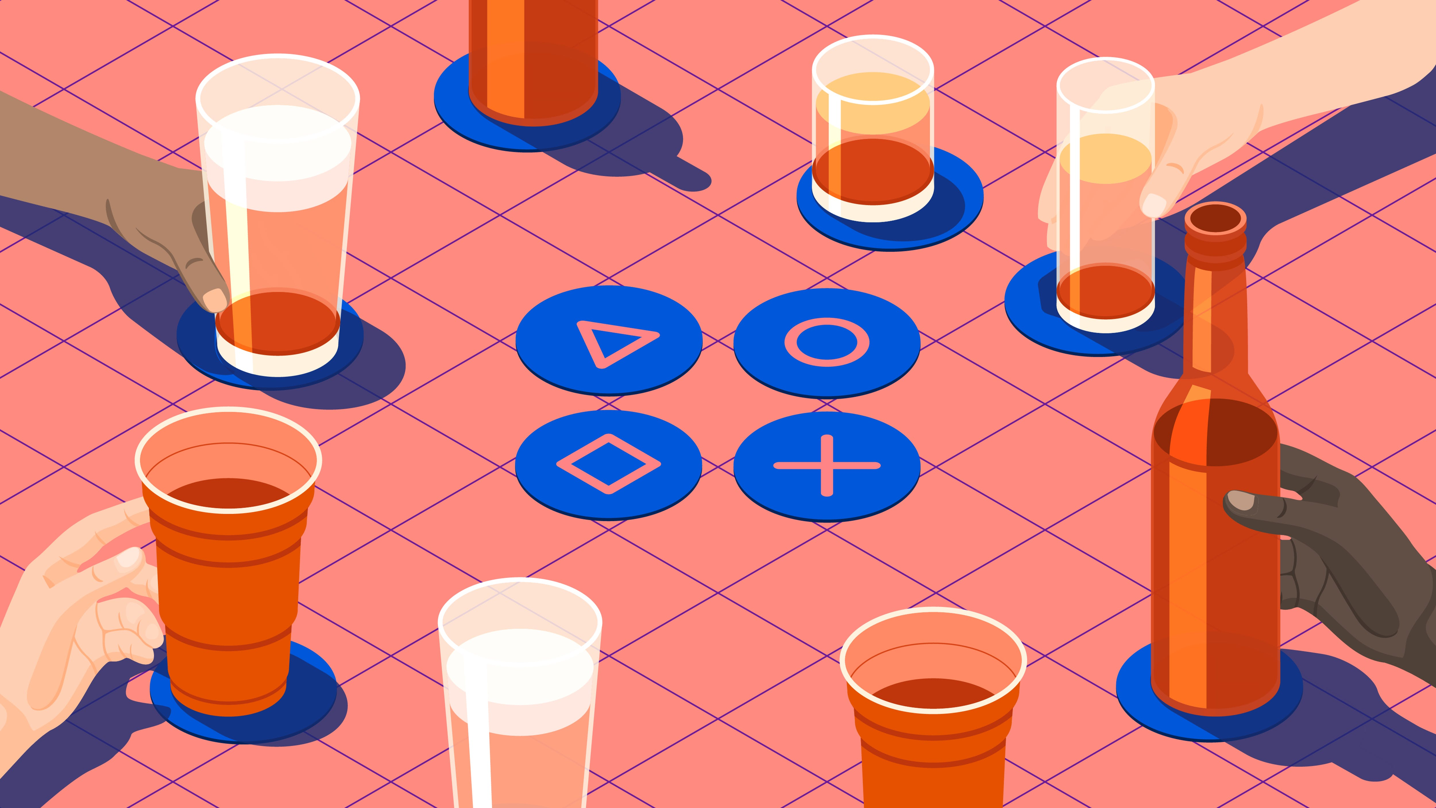 A round of drinks, positioned around beer coasters that resemble the buttons of a PlayStation controller.