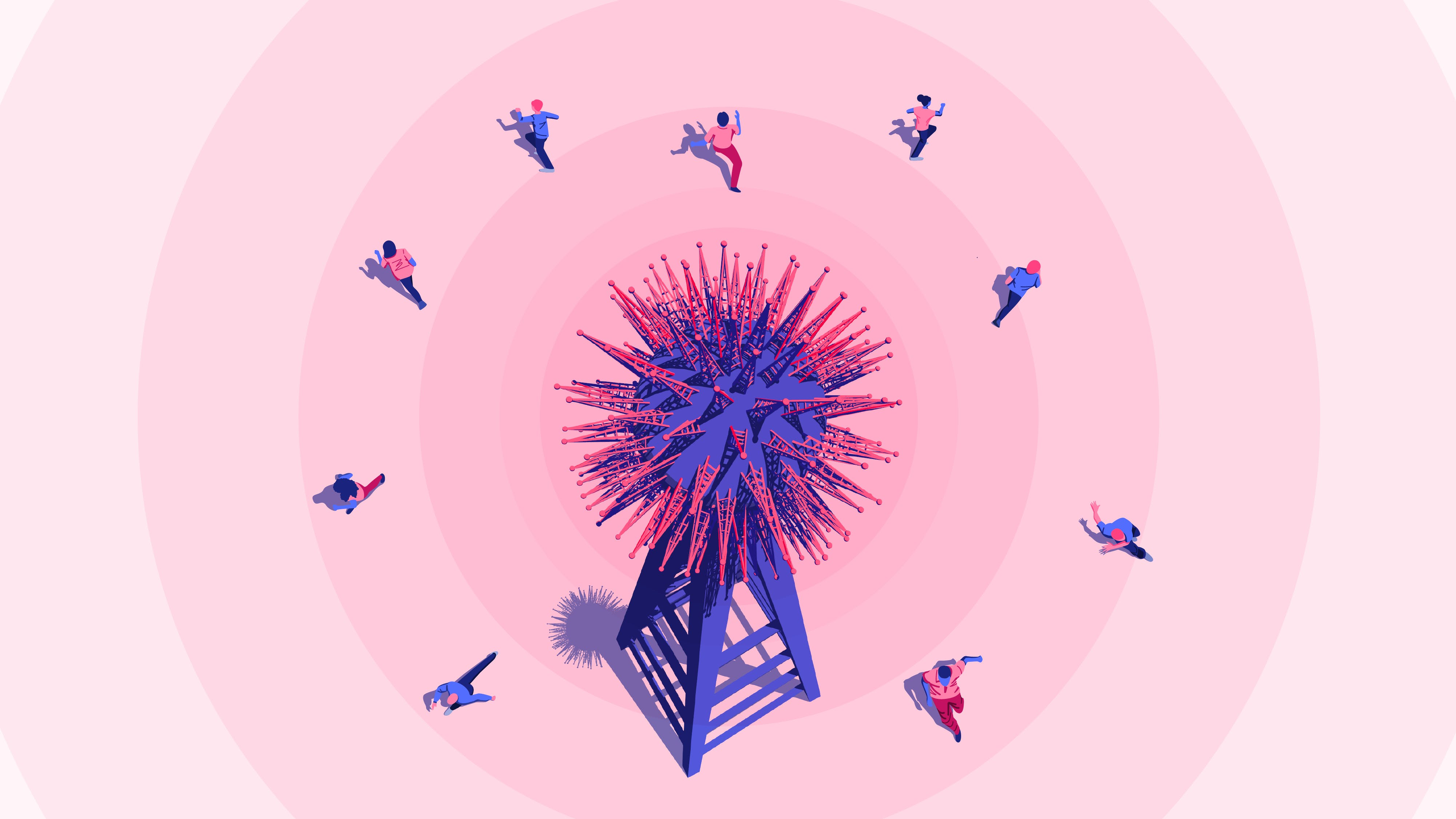 Illustration: a 5G tower from which people, afraid of contracting Covid-19, seek to escape