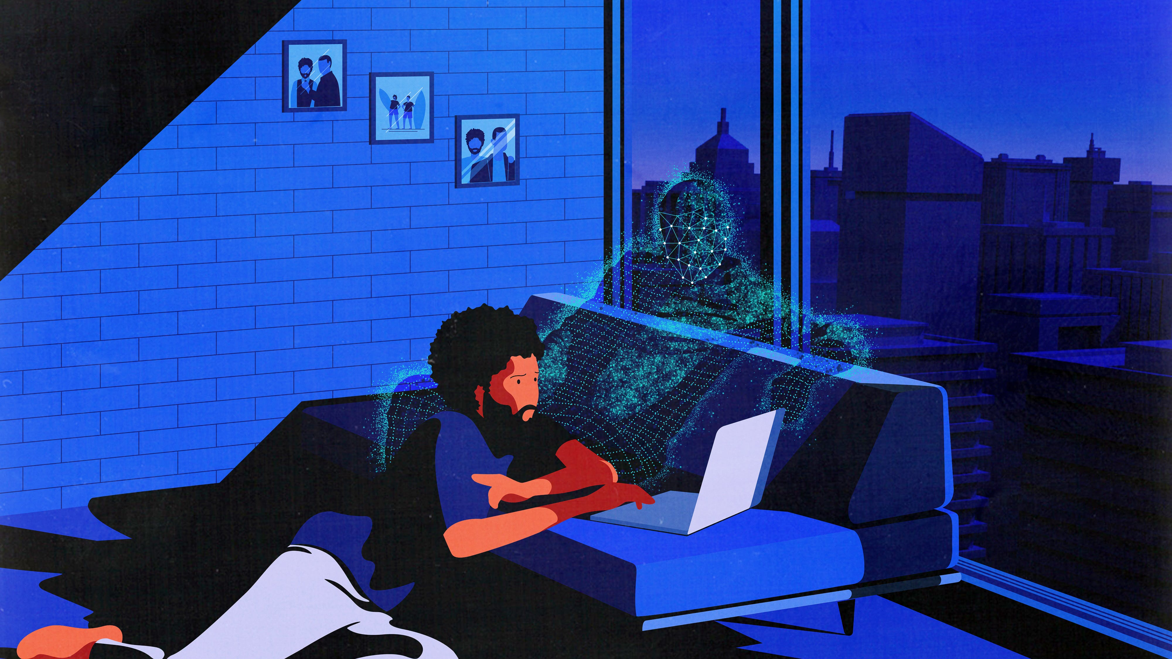 A person casually using a laptop; just behind, a ghostly hologram reclines, as if in wait.