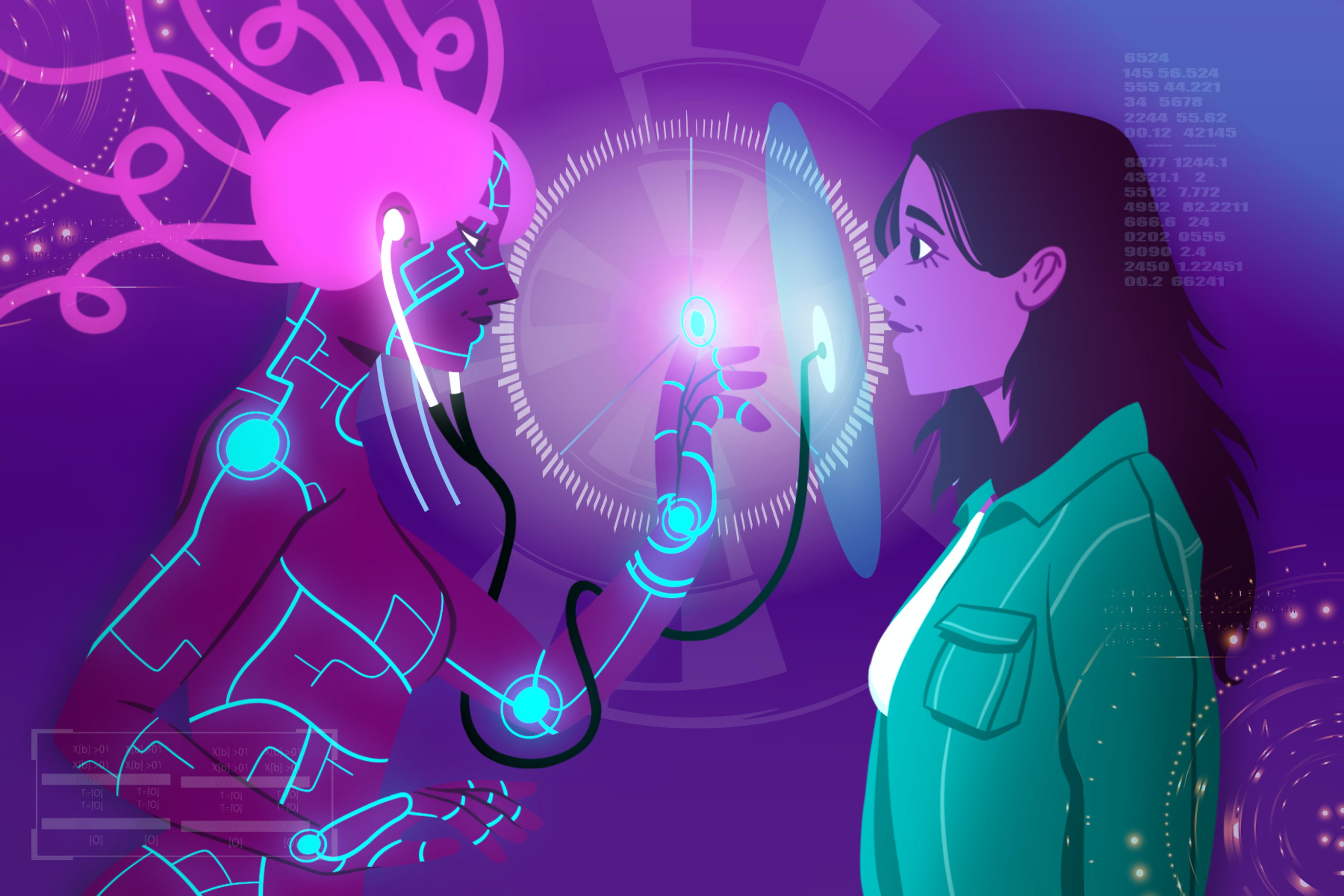 A woman faces a bio-avatar, the medically-connected version of herself.