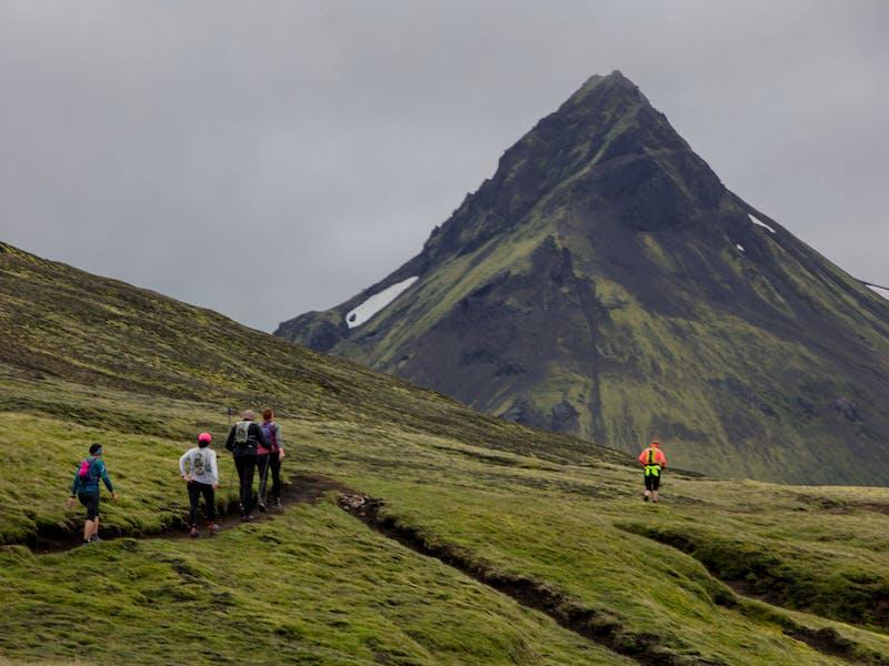 Laugavegur participants running in green moss
