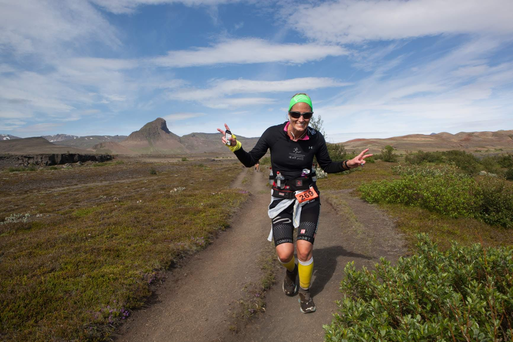 Happy runner on the Laugavegur trail