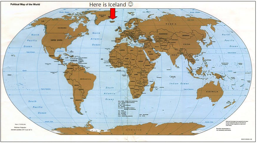 A picture of a world map pointing out where Iceland is located.