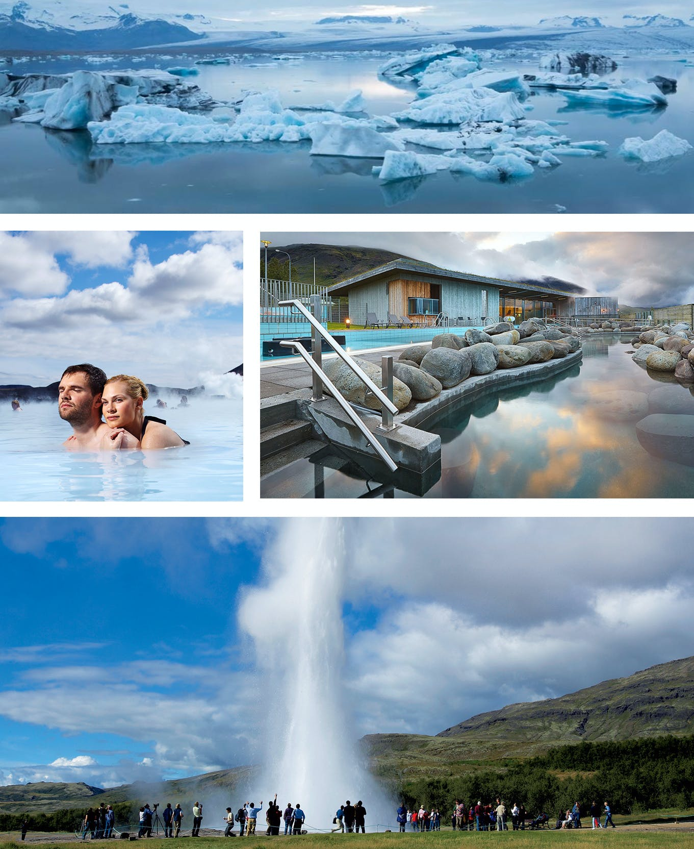 Reykjavik Excursions offer bus tours to Jokulsarlon Glacier Lagoon, the Blue Lagoon, Geysir and more.
