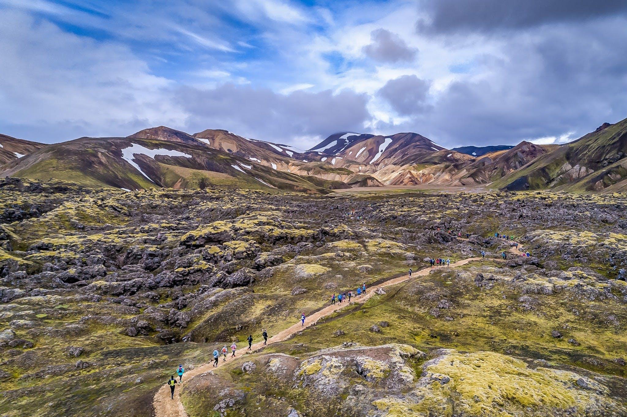 Hlauparar nýlagðir af stað í Landmannalaugum