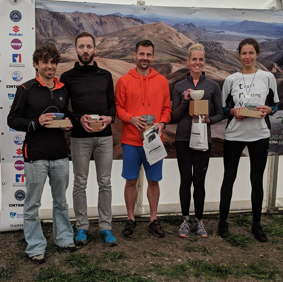 Prize winners in age group 30-39 years old. Laugavegur Ultra 2018 price ceremony.