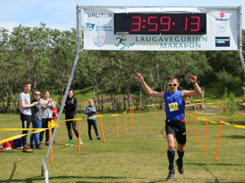 Þorbergur Ingi Jónsson finishing the Laugavegur Ultra Marathon on 3:59:13