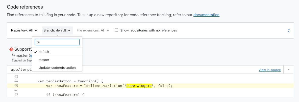 code-references-branch-filter