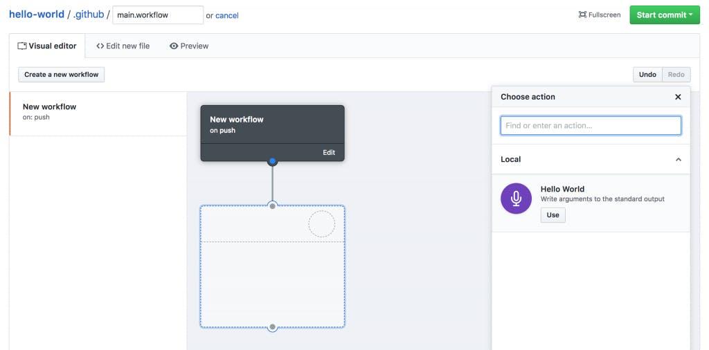 Screenshot of GitHub Actions visual editor