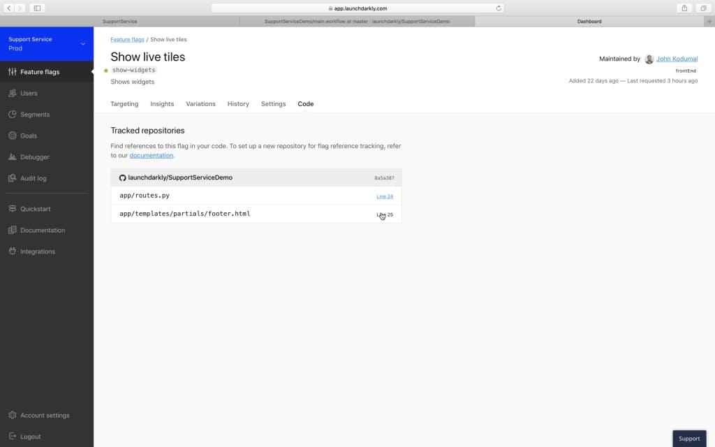 Screenshot of LaunchDarkly dashboard show live tiles