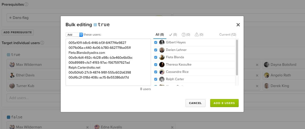 LaunchDarkly Bulk User Targeting and Segments