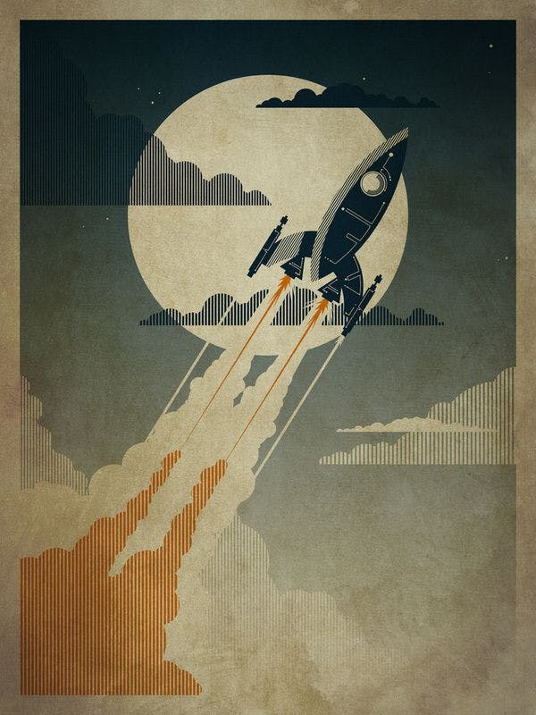 Night Launch Art Print by The Art Of Danny Haas
