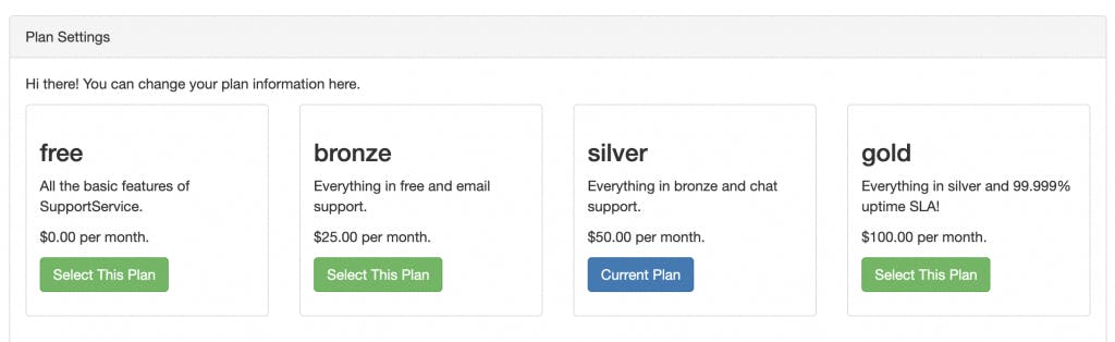 Listing of free, bronze, silver, gold, SaaS packages
