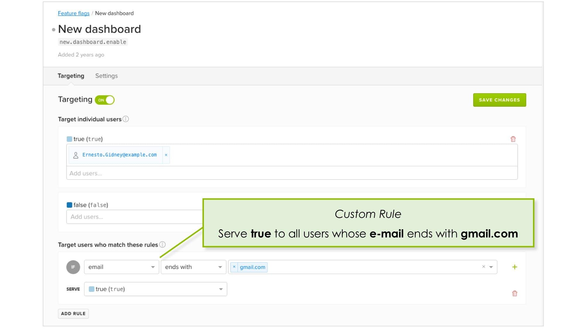 LaunchDarkly Custom Targeting Rule