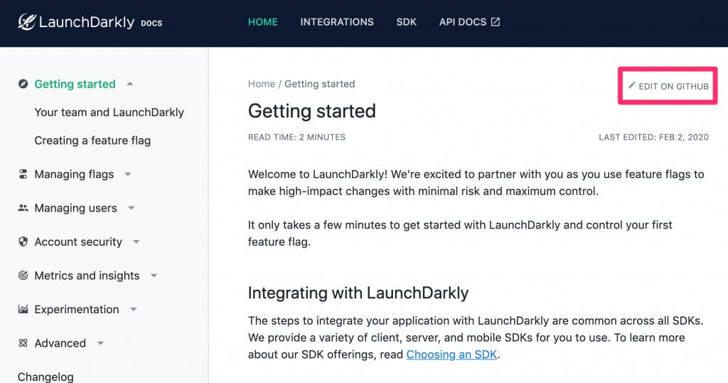 New-LaunchDarkly-docs-site-getting started