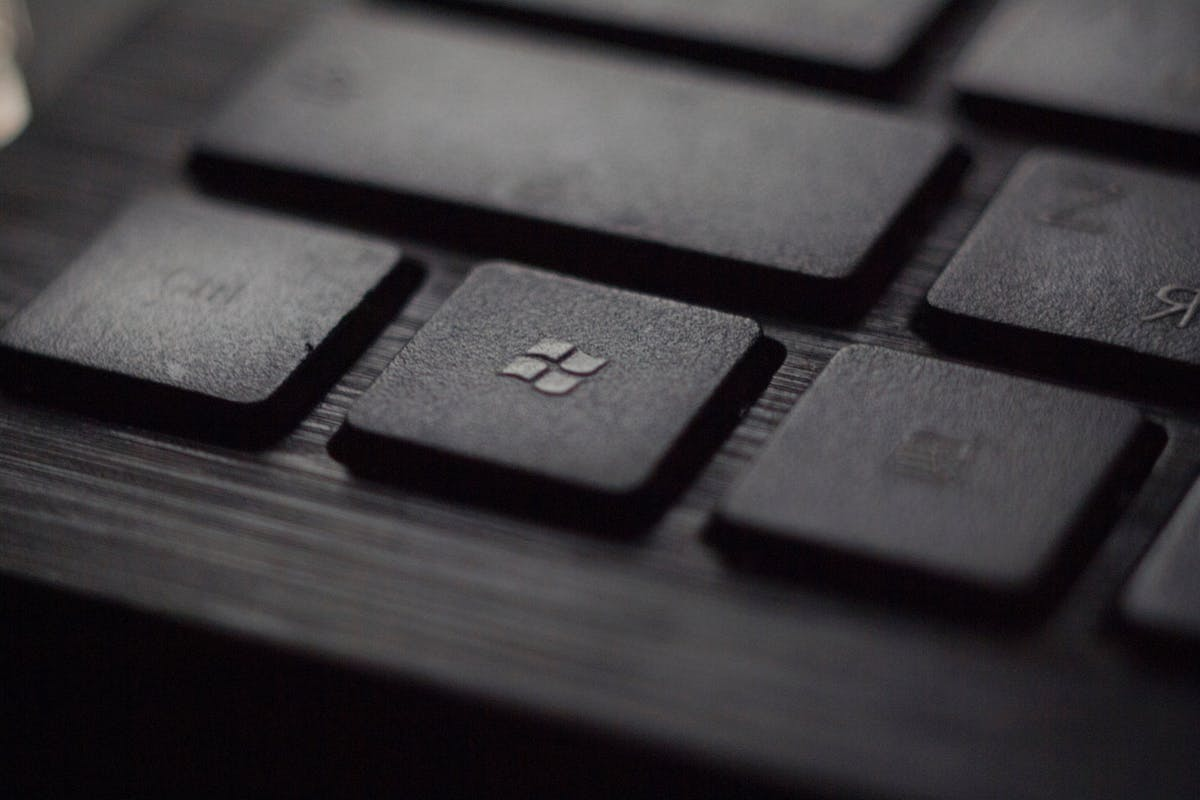 Microsoft logo on a black keyboard