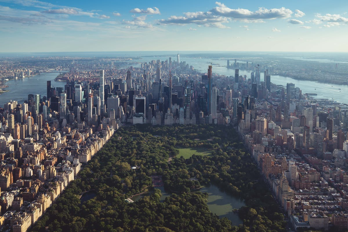 View of Central Park and New York seen from above