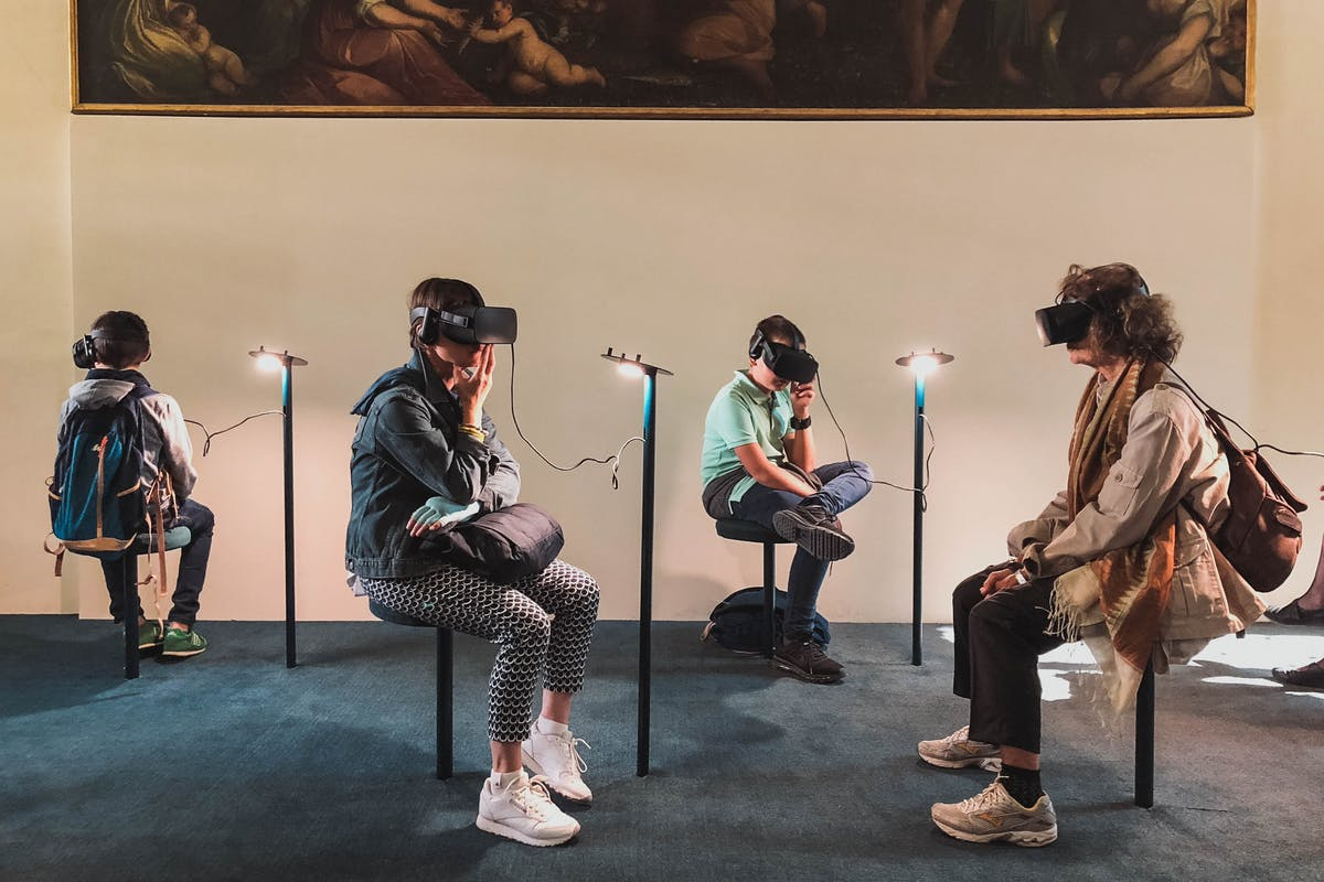 People In A Museum With VR HeadSets