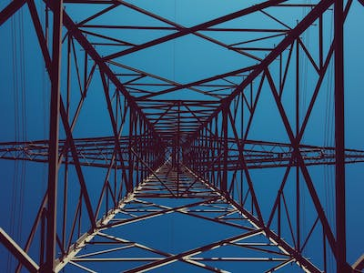 View of a transmission tower from underneath