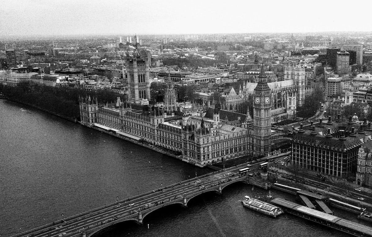 Arieal view of the Houses of Commons and Thames in Black and White