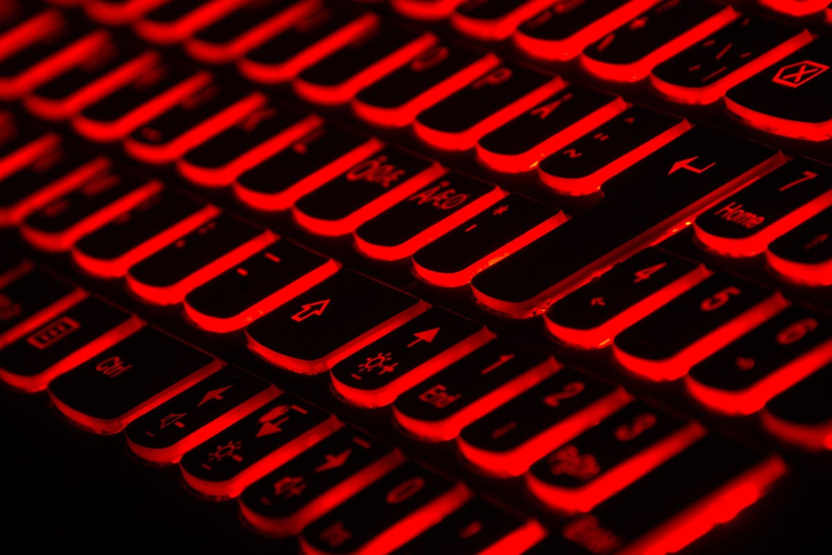 Keyboard underlit with red light
