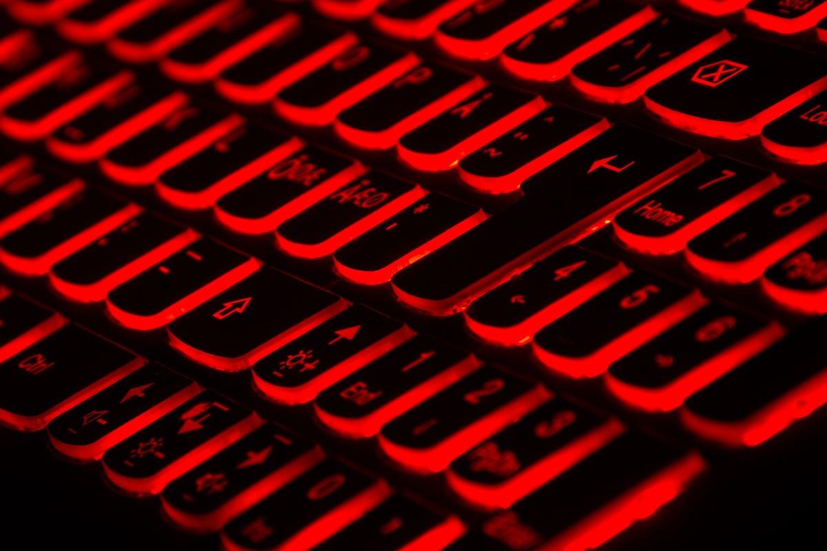 Keyboard underlit with red light
