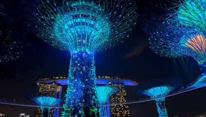 Futuristic or alien looking towers lit up by neon lights