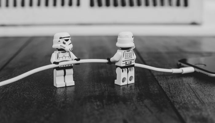 Lego storm troopers with a phone cable