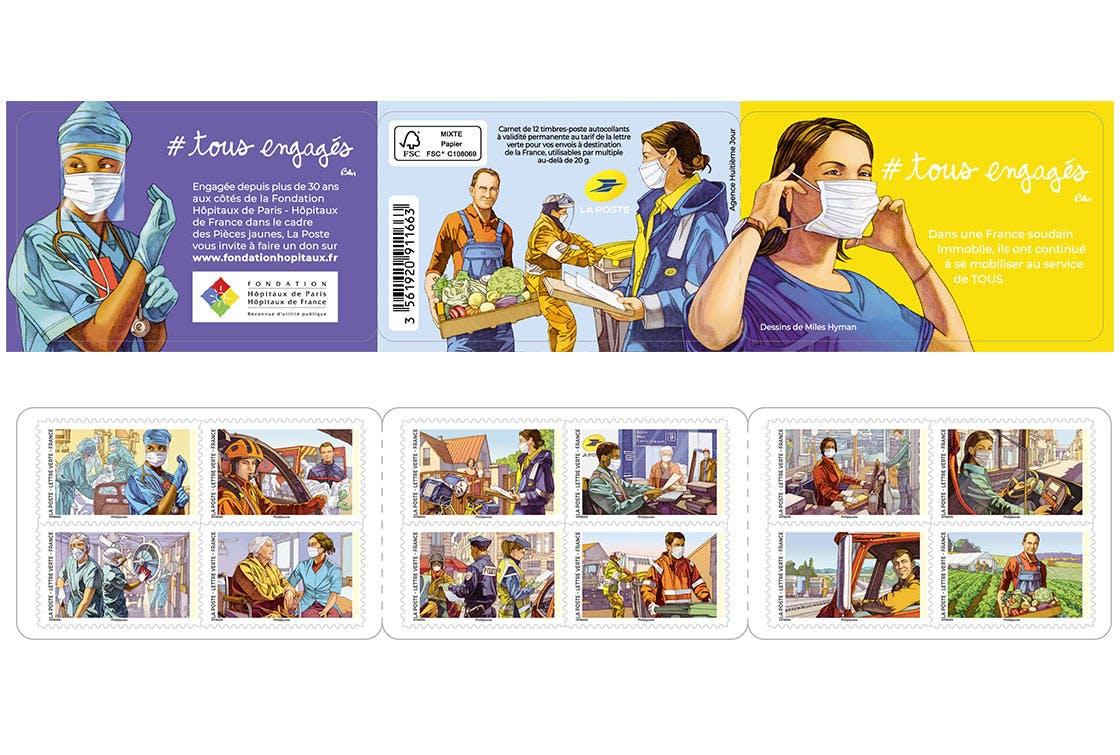 Le 14 septembre 2020, La Poste émet un carnet de timbres # tous engagés