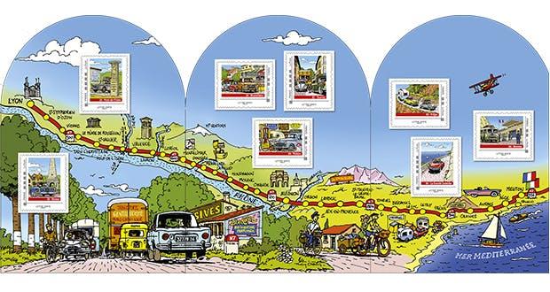 La Poste a lancé, au premier jour de l'été, deux collectors de 8 timbres chacun consacrés à la route nationale 7.