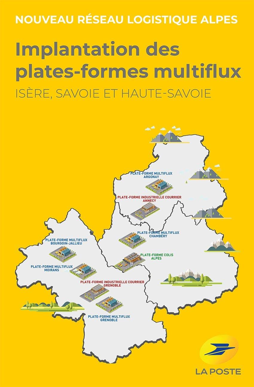 En activité à Moirans, Grenoble Mistral, Chambéry, Bourgoin-Jallieu et à Argonay, les 5 plateformes multiflux maillent le territoire des Alpes