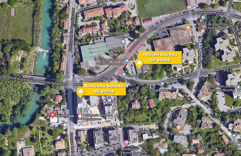 Carte avec l'emplacement des deux bureaux de poste, l'ancien et le nouveau