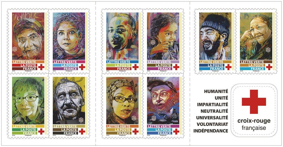 Visuel du carnet de 10 timbres Croix-Rouge 2019