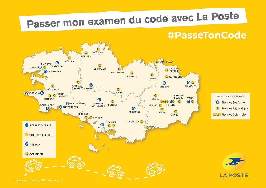 Carte des lieux où il est possible, en Bretagne, de passer l'examen du code avec La Poste.