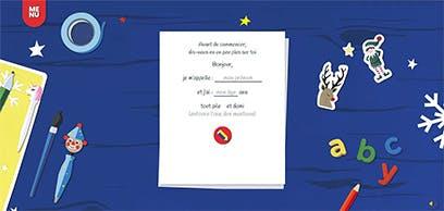 La première des activités proposées sur le site : écrire au Père Noël.