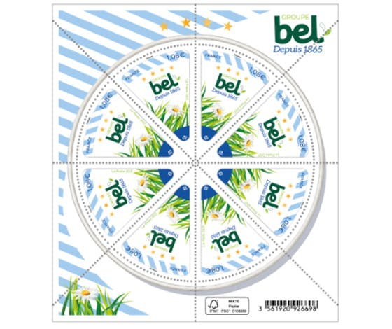 Timbre Bel : une composition inédite de 8 timbres triangulaires inspirés d'un célèbre fromage populaire jurassien.