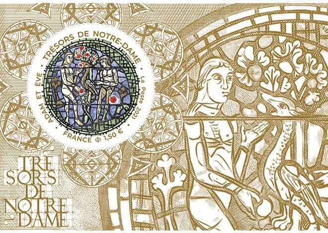 """La Poste émet un bloc de timbre intitulé """"Trésors de Notre-Dame – Adam et Ève"""""""