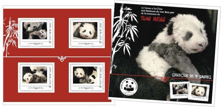 Les timbres émis par La Poste à l'effigie du panda Yuang Meng à l'occasion de sa naissance en France