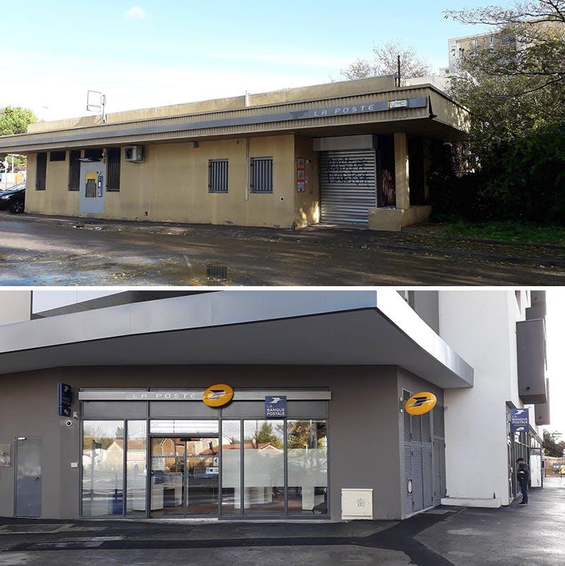 Photos de l'ancien et du nouveau bureau de poste de Pompignane