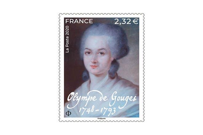 Timbre Olympe de Gouges 1748 - 1793 : Mise en page Valérie BESSER, portrait attribué à Alexandre KUCHARSKI (1741-1819), Collection particulière, droits réservés.