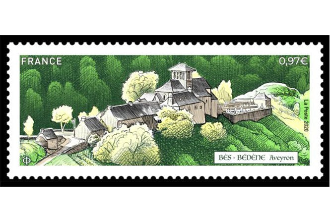Timbre BÈS-BÉDÈNE Aveyron : Création et gravure André Lavergne