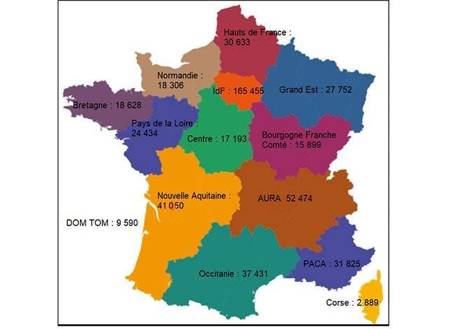 Emplois soutenus par région (Impact sur 6 entités du Groupe La Poste)