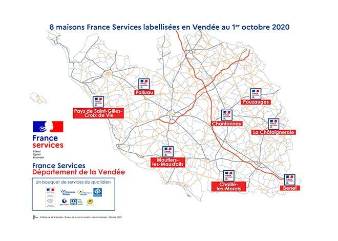 Aujourd'hui, 8 Maisons Frances Services labellisées fonctionnent en Vendée : l'objectif d'ici 2022 est de couvrir l'ensemble du territoire Vendéen avec un peu moins d'une vingtaine de structures.