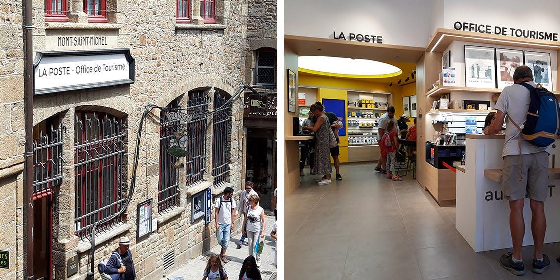 Photos du lieu qui réunit La Poste et l'Office du Tourisme du Mont-Saint-Michel, vu de l'extérieur et de l'intérieur.