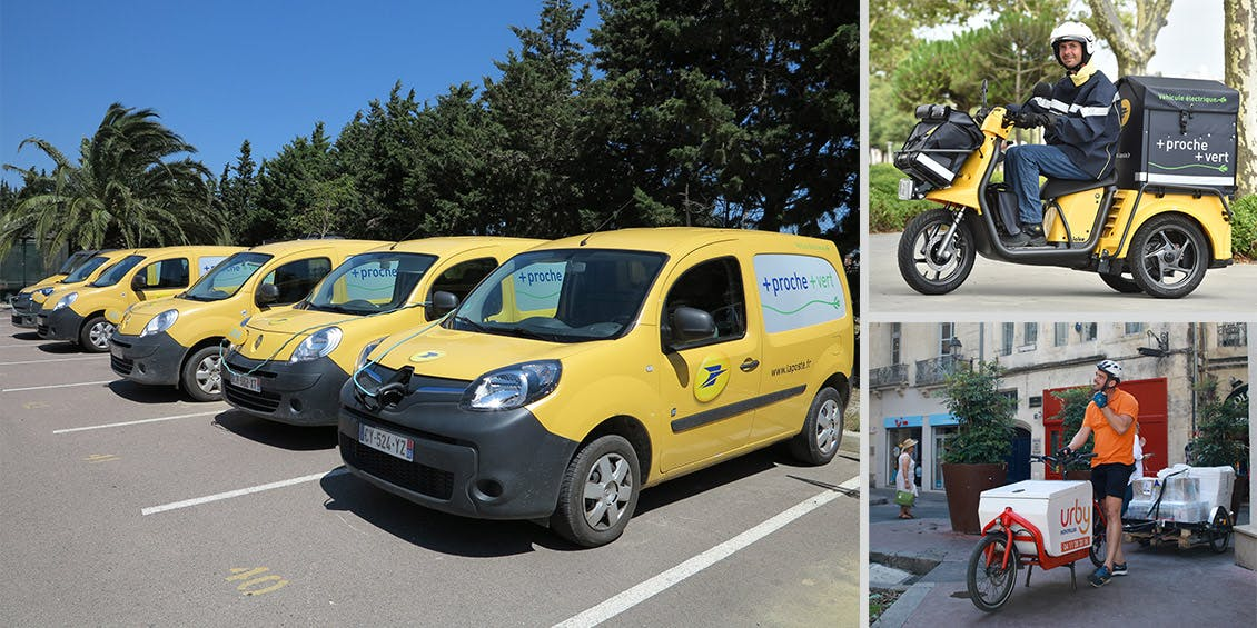 Photo avec des Kangoo ZE en charge, un trois-roues électrique Staby et un vélo cargo avec attelage de la société Urby.