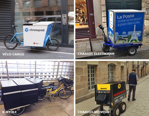 Different ecological vehicles created by La Poste