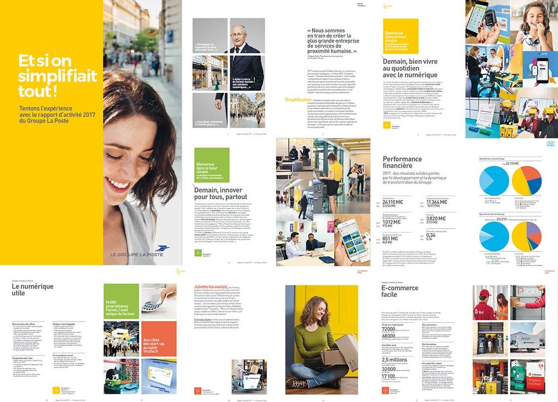 Une planche avec différentes pages du rapport d'activité