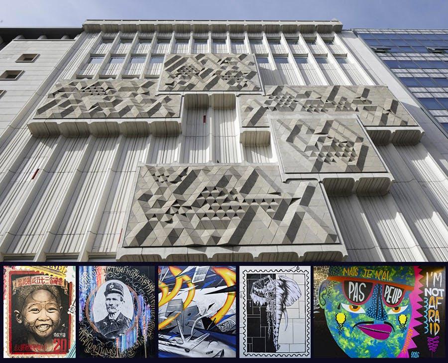 Photo avec la façade du Musée de La Poste et, en dessous, le détail de cinq des dix fresques de street-artistes qui ont orné les palissades du chantier.